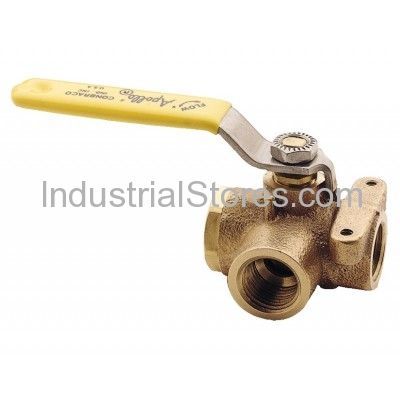"Conbraco 70-606-01 Bronze 3-Way Diversion Ball Valve 1-1/4"" Threaded 400psig WOG Cold Non-Shock"