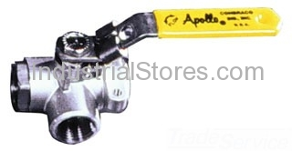 """Conbraco 76-607-01 Diversion 3-Way Stainless Steel Ball Valve 1-1/2"""" Threaded 800psig WOG Cold Non-Shock"""