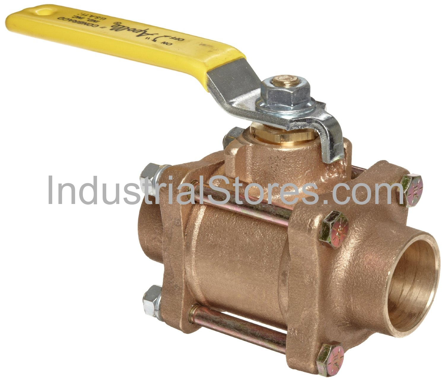 "Conbraco 82-207-01 Bronze 3-Piece Full-Port Solder End Ball Valve 1-1/2"" Solder End 600psig WOG Cold Non-Shock 150psig Saturated Steam"