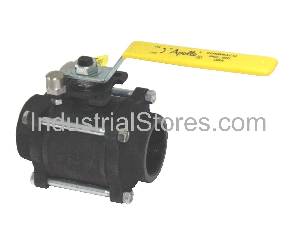 Conbraco 83R-148-01 Carbon Steel 3-Piece Full Port Ball Valve with Actuator Ready ISO Mounting Pad 2""