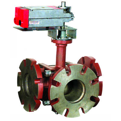 "Honeywell VBF3JS1S0A Control Ball Valve with Flanged Connection 3-Way 4"" 91Cv ANSI Construction Stainless Steel No Enclosure Non-Spring Return Actuator Floating"