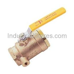 """Conbraco 50-GB4-01A Full Port Gas Ball Valve 3/4"""" Lever Handle with 1/8"""" Dual Tapping"""