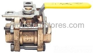 """Conbraco 82-104-01 Bronze 3-Piece Full-Port Ball Valve 3/4"""" Threaded 600psig WOG Cold Non-Shock 150psig Saturated Steam"""
