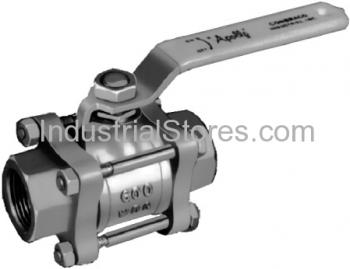 """Conbraco 82-107-01 Bronze 3-Piece Full-Port Ball Valve 1-1/2"""" Threaded 600psig WOG Cold Non-Shock 150psig Saturated Steam"""